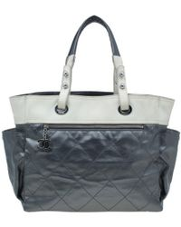 4035890e9983 Chanel - Metallic Grey Coated Canvas Large Quilted Paris Biarritz Tote -  Lyst