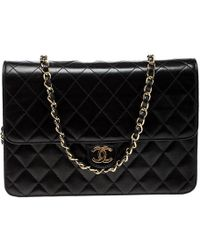 789703577c9b Lyst - Chanel Black Leather Sequined Chain Strap  cc  Small Single ...