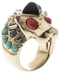 Chanel - Lion Head Multi Color Cabochon Gold Tone Cocktail Ring Size 52 - Lyst