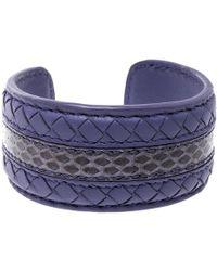 Bottega Veneta - Nappa Intrecciato Ayers Open Cuff Bracelet M - Lyst