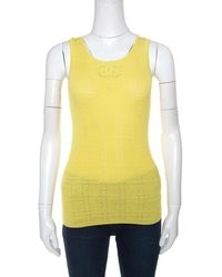 Chanel - Yellow Perforated Rib Knit Logo Applique Detail Sleeveless Tank Top S - Lyst