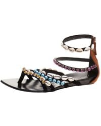 Giuseppe Zanotti - Multicolor Crystal And Shell Embellished Flat Sandals - Lyst