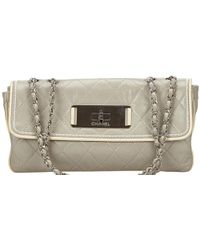 357b6b8c6d90 Chanel - Two Tone Quilted Leather Flap Bag - Lyst