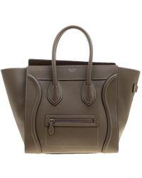 d362d5abfda0 Céline - Khaki Leather Mini Luggage Tote - Lyst