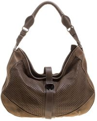 Burberry - Khaki Perforated Leather And Suede Bartow Hobo - Lyst