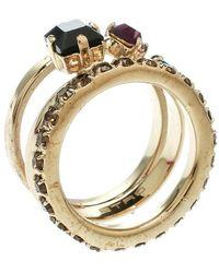 Etro - Crystal Embellished Gold Tone Multi Band Ring Size 61 - Lyst