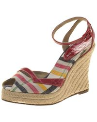 Burberry - Checked Canvas And Embossed Croc Leather Espadrille Wedge Sandals - Lyst