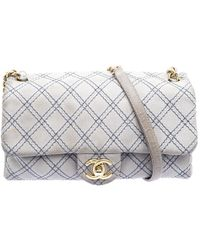 332c052d4614 Chanel - Grey Metallic Stitch Leather Small Classic Flap Bag - Lyst