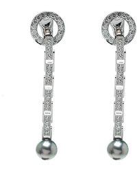 Cartier - Agrafe Diamond Grey Pearl 18k White Gold Long Drop Earrings - Lyst