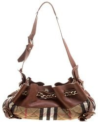 Burberry - /beige Leather And Quilted House Check Margaret Shoulder Bag - Lyst