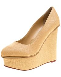 Charlotte Olympia - Raffia Carmen Wedge Platform Court Shoes - Lyst