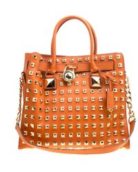 MICHAEL Michael Kors - Leather Large Studded Hamilton Tote - Lyst