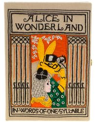 Olympia Le-Tan - Beige Canvas And Brass Alice In Wonderland Book Clutch - Lyst