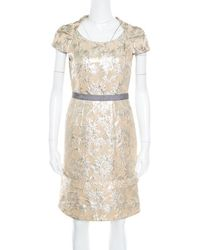 Marc By Marc Jacobs - Floral Lurex Jacquard Contrast Waistband Cap Sleeve Dress S - Lyst
