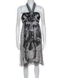Chanel - Monochrome Cc Printed Dotted Silk Halter Dress S - Lyst