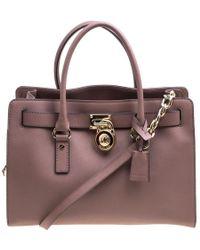 ac17ec361557 MICHAEL Michael Kors - Pale Leather East West Hamilton Top Handle Bag - Lyst