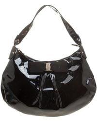 Ferragamo - Black Patent Leather Miss Vara Hobo - Lyst