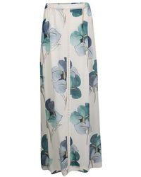 Tory Burch - Off Blooming Iris Printed Silk Kendra Maxi Skirt M - Lyst