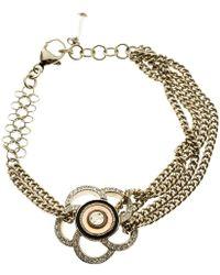 Chanel - Camellia Crystal Tone Chain Bracelet - Lyst