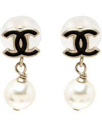 Chanel - Cc Faux Pearl Tone Drop Earrings - Lyst