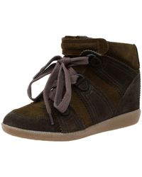 Isabel Marant - Two Tone Suede Bobby Lace Up Wedge Sneakers - Lyst