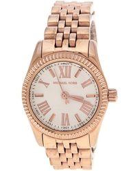 f099cd2dfbf7 Michael Kors - Silver White Gold Plated Steel Petite Lexington Rose Mk3230  Women s Wristwatch 26 Mm