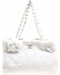 Chanel - Quilted Fantasy Fur Camellia Tote - Lyst