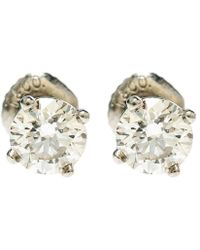 Tiffany & Co. - 1.10cttw Solitaire Diamond & Platinum Stud Earrings - Lyst