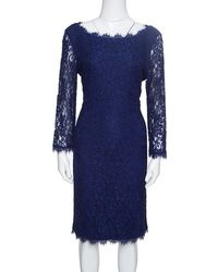 Diane von Furstenberg - Navy Blue Zarita Lace Dress M - Lyst