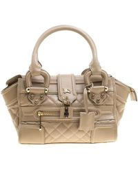 Burberry - Quilted Leather Mini Manor Satchel - Lyst