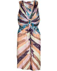 Missoni - Perforated Knit Draped Buckle Detail Sleeveless Dress L - Lyst