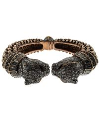 Roberto Cavalli - Crystal Embellished Panther Open Cuff Bangle - Lyst