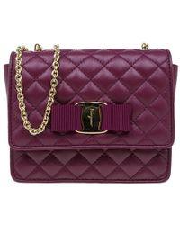 Lyst - Ferragamo Ginny Mini Vara Leather Flap Bag in Red 5647599dd455e