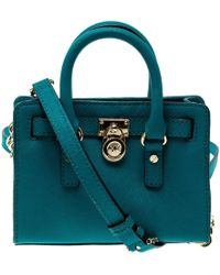 22c9cbcbe218 MICHAEL Michael Kors - Blue Saffiano Leather Mini Hamilton Crossbody Bag -  Lyst
