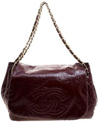 Chanel - Quilted Detail Patent Leather Timeless Accordion Flap Bag - Lyst