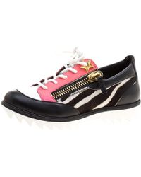 Giuseppe Zanotti - Zebra Print Pony Hair And Leather Lace Up Trainers - Lyst