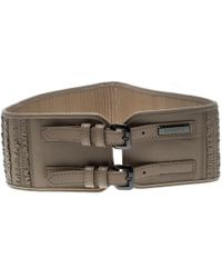 Burberry - Leather Ruffle Double Buckle Wide Belt 70cm - Lyst