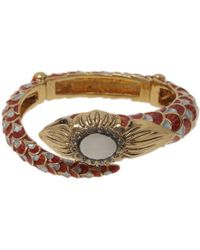 Roberto Cavalli Snake Red Crystal Bangle Bracelet