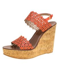 b0d3b8282 Tory Burch - Coral Red Perforated Leather Daisy Cork Wedge Sandals Size  39.5 - Lyst