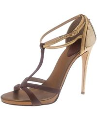 Giuseppe Zanotti - Cognac & Gold Leather Metal Plated T-strap Sandals - Lyst