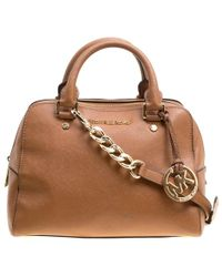 6411a6fc6474 MICHAEL Michael Kors - Michael Kors Leather Logo Fob Top Handle Bag - Lyst