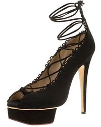 Charlotte Olympia - Suede Gladys Scallop Trim Lace Up Open Toe Platform Pumps - Lyst