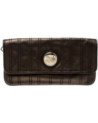 Céline - Bronze Striped Leather Clutch - Lyst