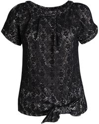 Marc By Marc Jacobs - Metallic Medallion Lace Bow Detail Top Xs - Lyst