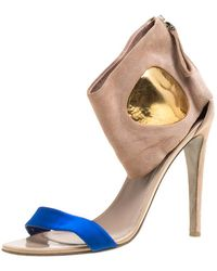 Sergio Rossi - Suede And Blue Satin Ankle Cuff Open Toe Sandals - Lyst