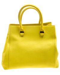 Victoria Beckham - Yellow Leather Quincy Tote - Lyst