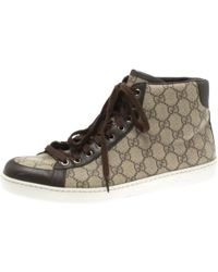6eac8d2db Gucci Beige GG Supreme Canvas And Brown Leather Trim High Top Sneaker Size  43