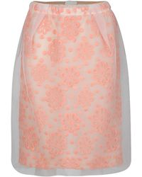 Louis Vuitton - Floral Embroidered Detail Textured Skirt M - Lyst