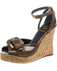 Burberry - Leather And Novacheck Canvas Buckle Detail Peep Toe Espadrille Wedge Sandals - Lyst