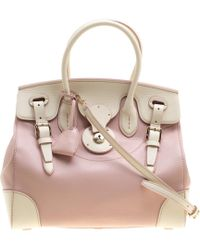 Ralph Lauren - Off White/blush Pink Leather Ricky Top Handle Bag - Lyst